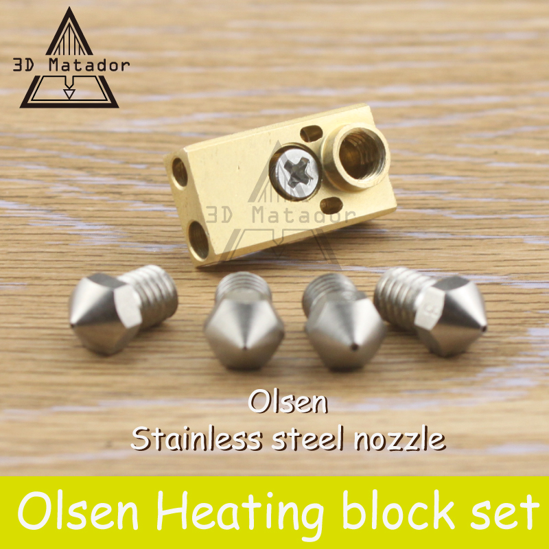 O envio gratuito de impressora 3D Ultimaker 2 + UM2 Estendido + Olsson bloco hotend kit para 1.75mm/3mm filamento De bico de Aço Inoxidável