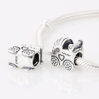 925 Sterling Silver Baby Carriage Charm for a Boy or Girl Fit European Bracelet Necklaces & Pendants, LW242