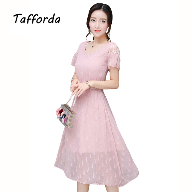 fb9fd8991366 Tafforda Chiffon Dress Female Summer New 2017 Women s Dress Tide Korean  Fashion Slim Thin Temperament Lace Fairy Dress Female