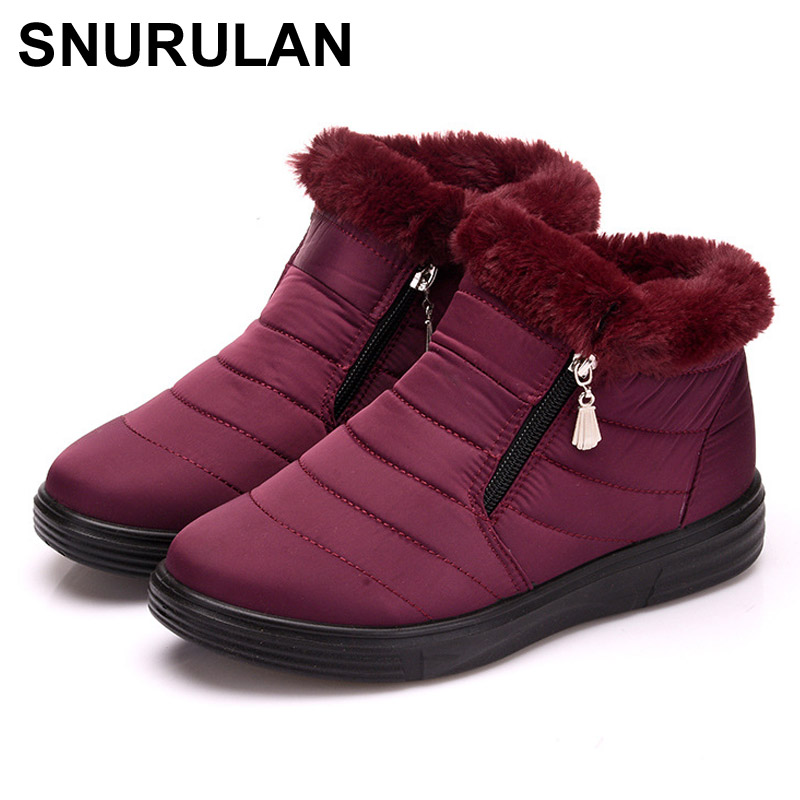 все цены на SNURULAN 2018 Winter Warm Faux Fur Snow Boots Fashion Solid Ankle Boots Casual Women Mother Flats Shoes Woman E017