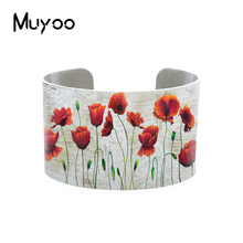 New Vintage Red Poppies Flower Paintings Patterns Adjustable Bangle Cuff Beauty Red Poppy Flowers Bracelets Art Aluminum Bangles