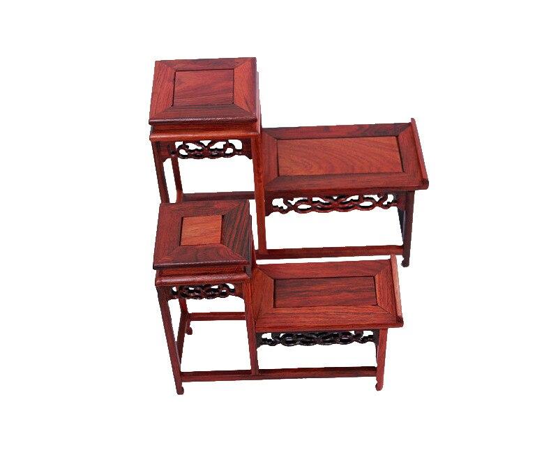 Décoration bois rouge artisanat bois de rose niveau de base de bois creux pièce étagère théière Tropsch vente en gros