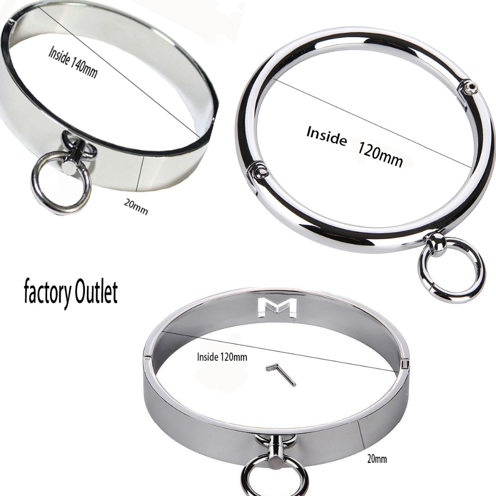 Sex Toys Female Stainless Steel Metal Neck Collar Sex Slave Role Play Necklace For Women Fetish Restraint Bondage Ring