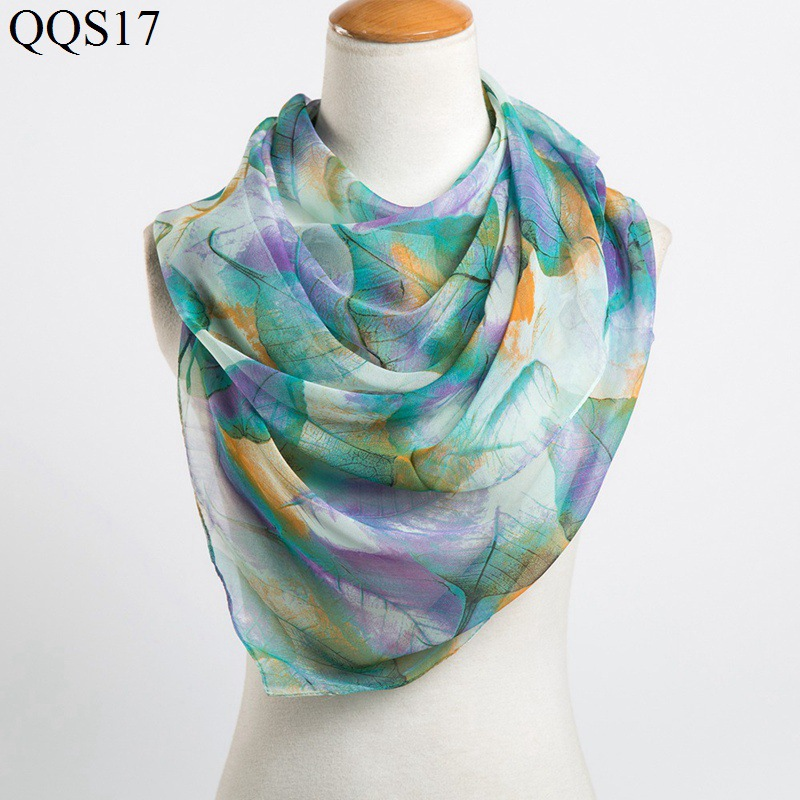 F&U Polyester Long Leaf Print Soft   Scarf     Wrap   Luxury Shawl Special Craft Chiffon Touch Feeling Fashion & Warm For Woman