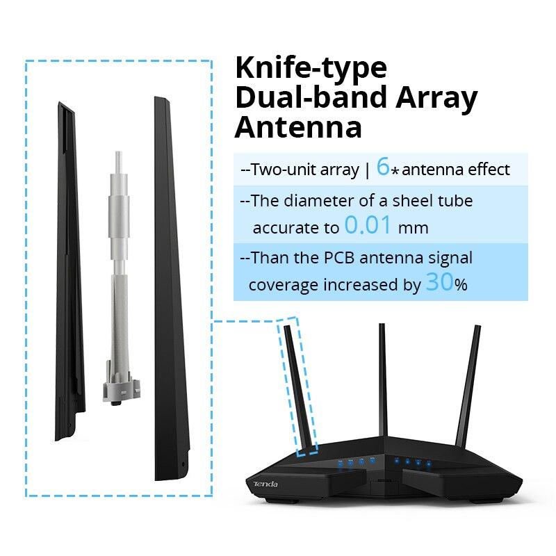 Tenda AC18 Wireless wifi Router 256M DDR Dual Core CPU 1WAN+4LAN Gigabit ports WiFi Repeater Dual Band 11AC1900M Gigabit USB 3.0 - 4