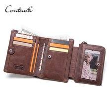CONTACTS crazy horse prawdziwy męski portfel ze skóry vintage krótkie portfele z saszetką na monety kieszonkowy portfel męski mały człowiek torebka cuzdan