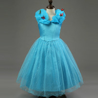Cinderella Princess Wedding Girl Dress Blue Lace Buttfly Tutu New Year Party Evening Birthday Dresses Flower