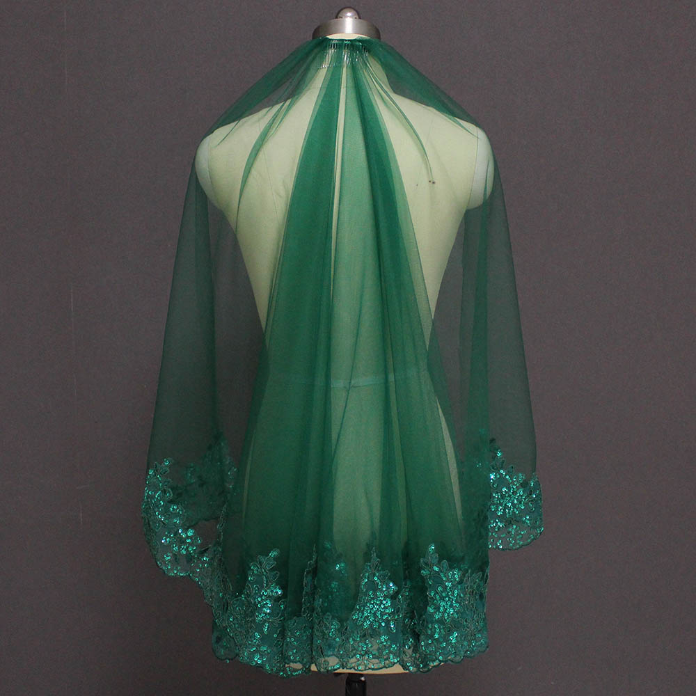 Green Short Wedding Veil Muslim Islamic One Layer Sequins Lace Bridal Veil With Comb 2019 Voile Mariage Bride Veils