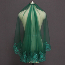 Velo de novia corto verde, velo musulmán islámico de una capa con lentejuelas, velo de novia de encaje con peine, velo de novia de gasa