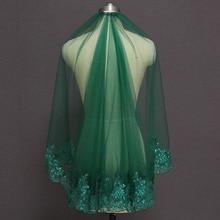 Zielona krótka welon slubny muzułmański islamski jedna warstwa cekinowa koronka welon ślubny z grzebieniem Voile Mariage panny młodej welony