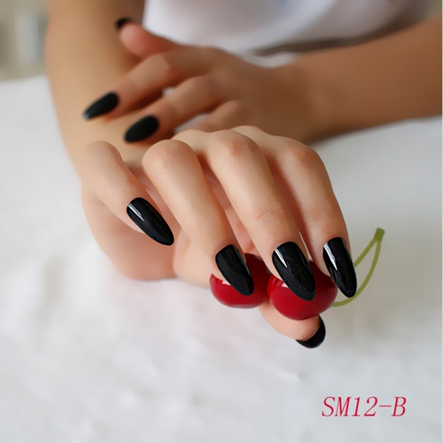 24PCS New A piece Long stemmed A type Drop A Solid Nail Color High ...