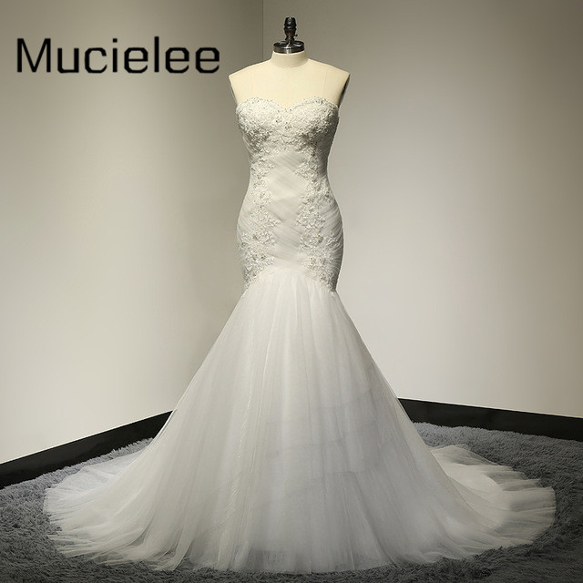Rustic Beaded Sweetheart Pleated Lace Mermaid Wedding Dress