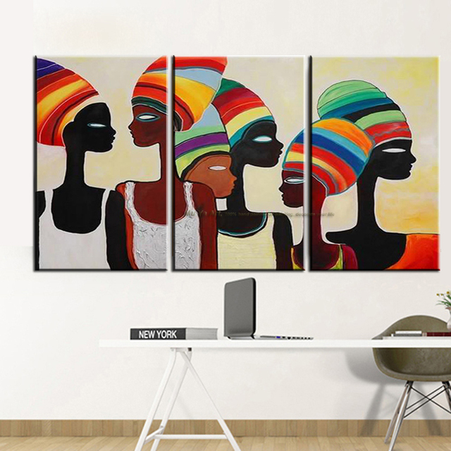 Decorative Wall Painting African Woman Modern Paintings Abstract Oil Canvas Pictures For Living Room