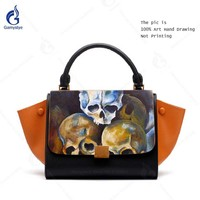 Vintage Trapeze Bag Women Designer Luxury Handbags 100% Genuine Leather Casual Totes Bags Art Hand Painted Graffiti Skull Bolsas