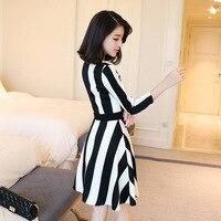V Led Korean Version Women International Fashion All Match Slim Comfortable Women Clothes Slim Waist Striped