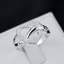 New Collection Silver Fashion Jewelry 925 Sterling Silver Rings Women Accessories Silver Dolphin Hearts Wedding Rings Free ship