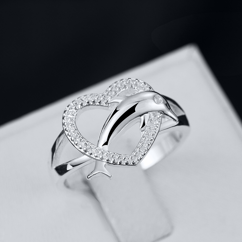 new collection silver fashion jewelry 925 sterling silver rings women accessories silver dolphin hearts wedding rings - Dolphin Wedding Rings