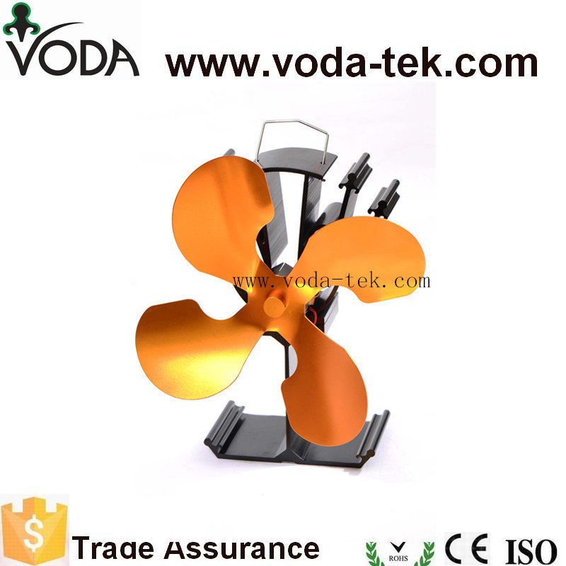 VODA Four Gold Blades Heat Powered Stove Fan19% Fuel Saving Stove Fan For Wood Burner/ Fireplace-Eco Friendly