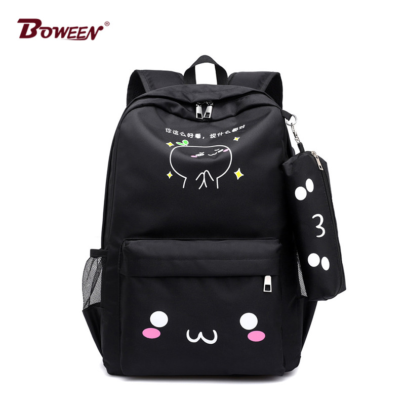 Teen Backpack Girls School Bags For Teenage USB Large Capacity Women Book Bag Quality Nylon Schoolbag Cute Cat Back Pack Female