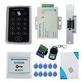 RFID 125 KHz T11 fechadura da porta de controle de acesso + greve elétrica lock + 3A/12 V fonte de alimentação + botão de saída + 10 pcs cartões de chave + controle remoto