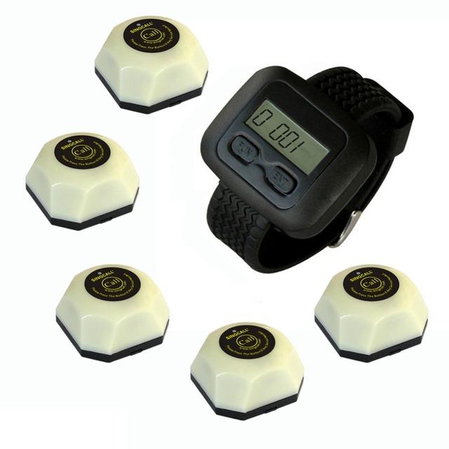 Singcall. sistemas de serviço, 5 botões individuais e 1 receptor relógio
