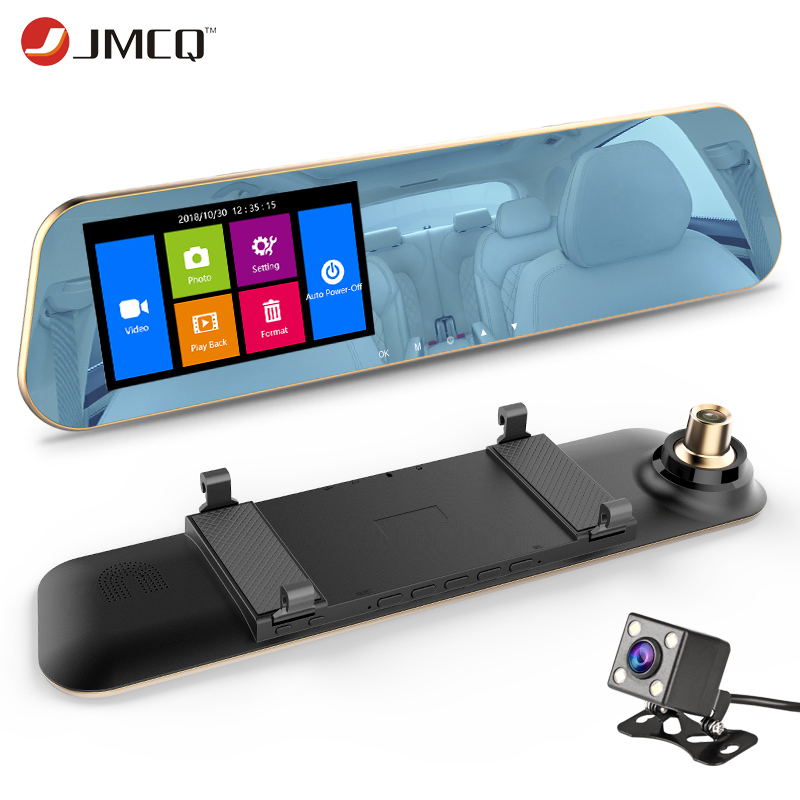 JMCQ Mirror Dashcam Car-Dvr Rearview Auto-Registrator-Record G-Sensor Dual-Cameras Automatic