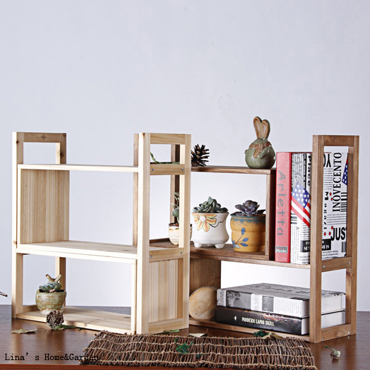 3 tier small solid fir wood organizer shelf for books shelf