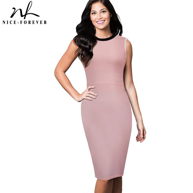24bdf558955c9 US $12.34 5% OFF|Nice forever Vintage Summer Solid color Sleeveless Retro  Stylish Casual Work O Neck Bodycon Women Office Pencil Slim Dress B38-in ...