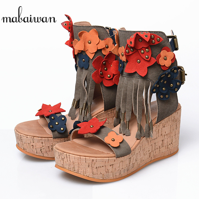 Mabaiwan Casual Women Shoes Genuine Leather Summer Sandals Platform Wedges High Heel Shoes Woman Rivet Breathable Peep-Toe Pumps hzxinlive elegant summer sandals women high heel wedges shoes woman round toe roman sandals ladies footwear female casual shoes