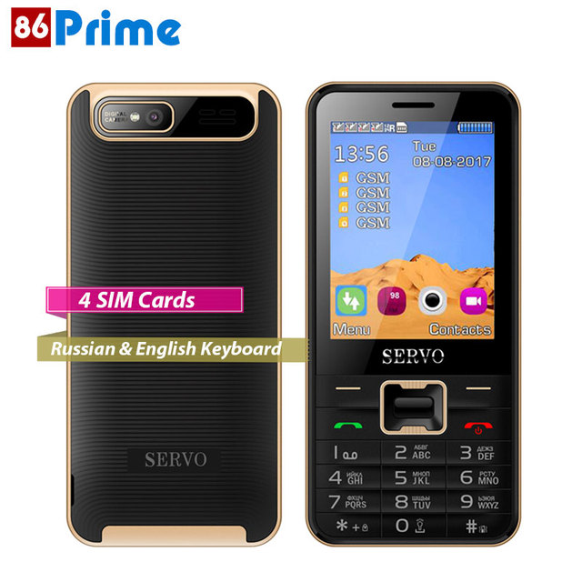 Качественно сим мобильный телефон Quad Band 4 Мобильные SIM-карты 4 резервный сотовый телефон 2.8 дюймов Поддержка MP4 GPRS Bluetooth Русский Английский клавиатура