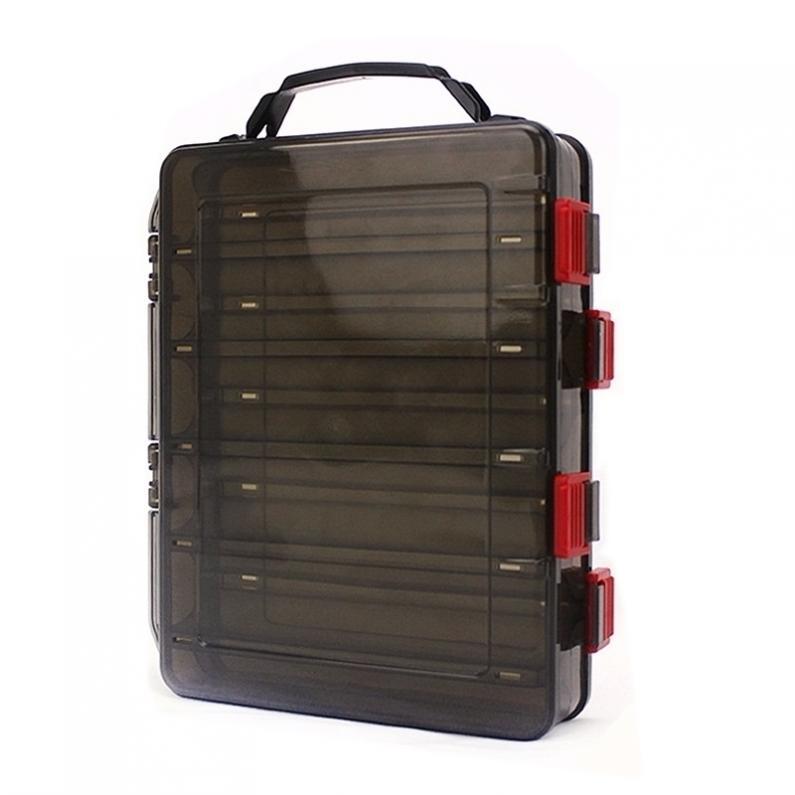 20x17x5 cm caja de señuelo de pesca de doble cara con orificio de aire para cebo de camarón señuelos duros de almacenamiento caja de aparejos multifunción
