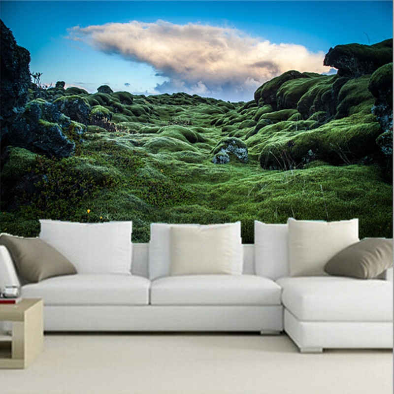 The latest 3D murals, papel de parede Ireland Moss Nature wallpapers, living room TV wall bedroom wall of wall paper the latest 3d murals dream of the sun exposure forest trees stone waterfall scenery living room tv sofa bedroom wall paper
