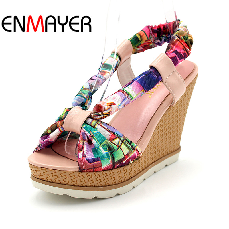 Bohemia Plus Size 34-41 New Fashion Wedges Sandals Slip on Elastic Band Casual Platform Shoes Woman Summer Lady Shoes Shallow wedges gladiator sandals 2017 new summer platform slippers casual bling glitters shoes woman slip on creepers