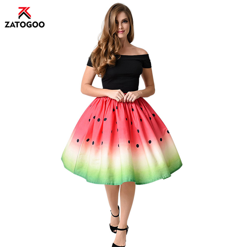 Women Watermelon Cute Pleated Skirt Printed Elestic Waist A Line Tutu Dots Skirt Christmas Colorful Red Yellow Blue Green White