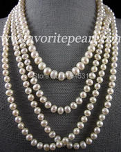 Pearl Necklace Wedding Bridesmaid Jewelry Perfect Multistrand 7-10MM 18.5-25 Inches 4Rows White Freshwater Pearl Necklace