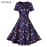 SEPTDEER Europe And The United States Retro Style Fashion Bird Print Short Sleeve Summer 1950s Vintage