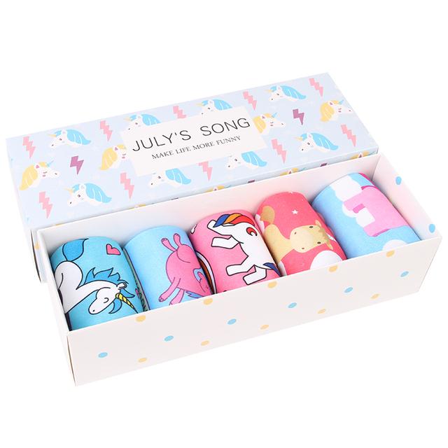 Cute Unicorn Printed Women's Socks 5 pcs Set