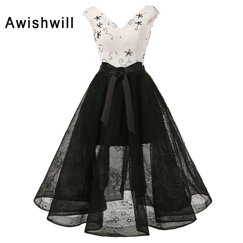 Real Photo Elegant Formal Gowns For Pageant V-neck A-line Beadings Lace Knee-Length Black and White Prom Dresses 2019