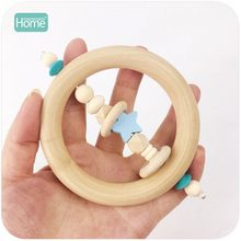 MamimamiHome Baby Toys Wooden Teether Star 98mm Wooden Beads Montessori Musical Toys For Children Nursing Bracelet Baby Rattle(China)