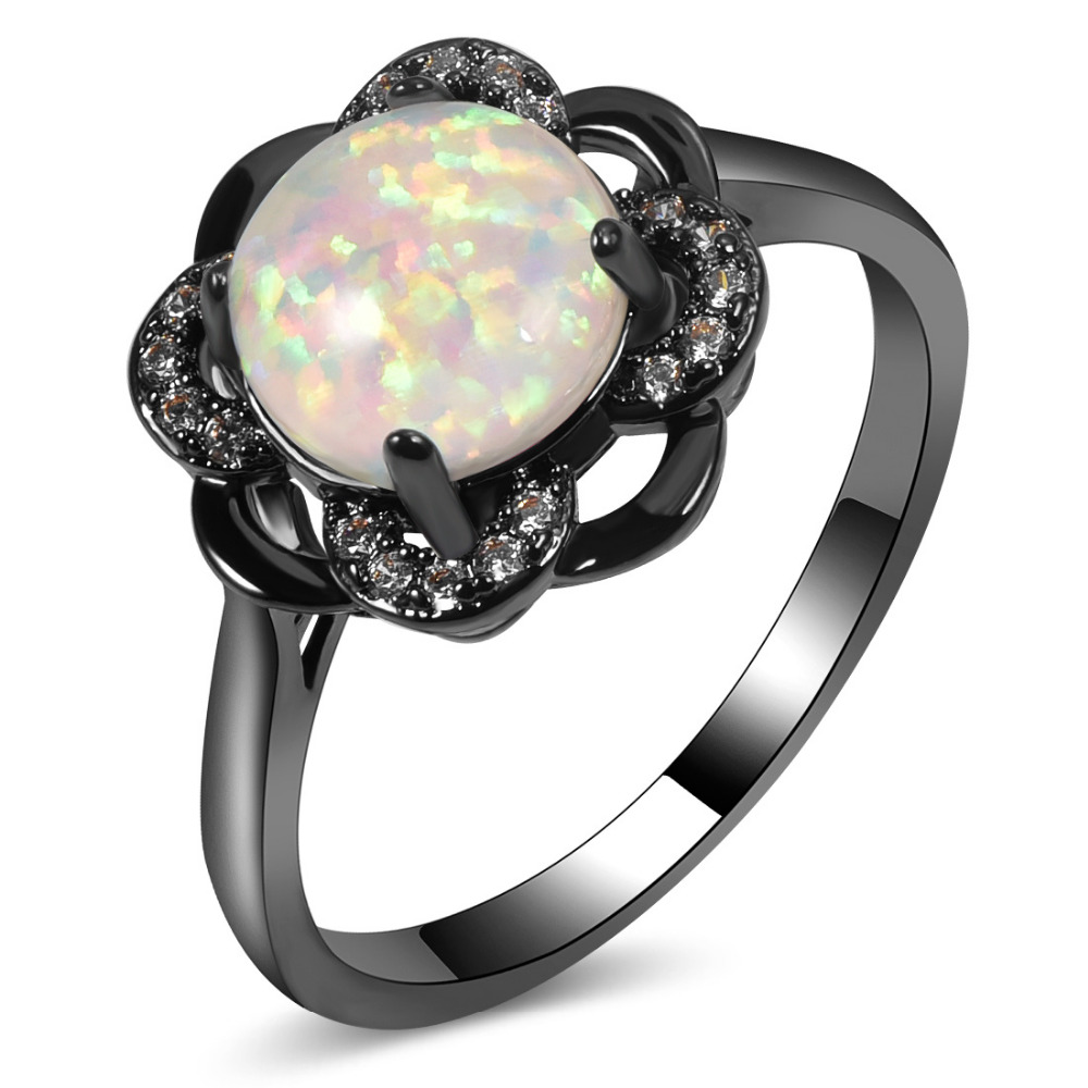 Hot Sale Exquisite White Fire Opal 14KT Black Gold Filled Engagement Wedding Ring Size 5 6 7 8 9 10 11 A131 In Rings From Jewelry Accessories On