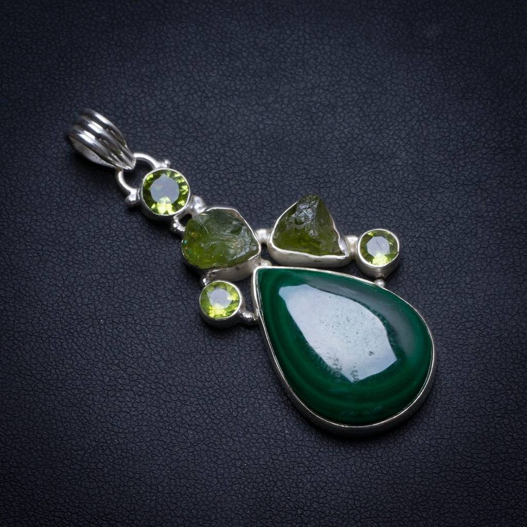 Natural Malachite and Peridot Handmade Boho 925 Sterling Silver Pendant 2 1/4 U0224Natural Malachite and Peridot Handmade Boho 925 Sterling Silver Pendant 2 1/4 U0224