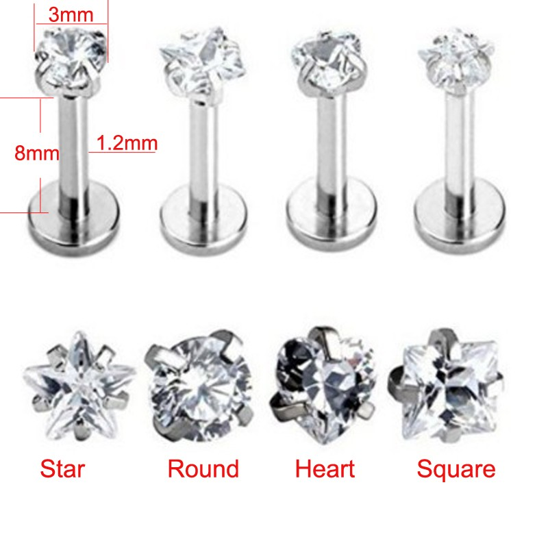 Top Fashion 100% Titanium G23 Daith Tragus Ear Lip Piercing Prong AAA Zircon Labret Cartilage Gem Piercing 1.2*8mm Body Jewelry 10