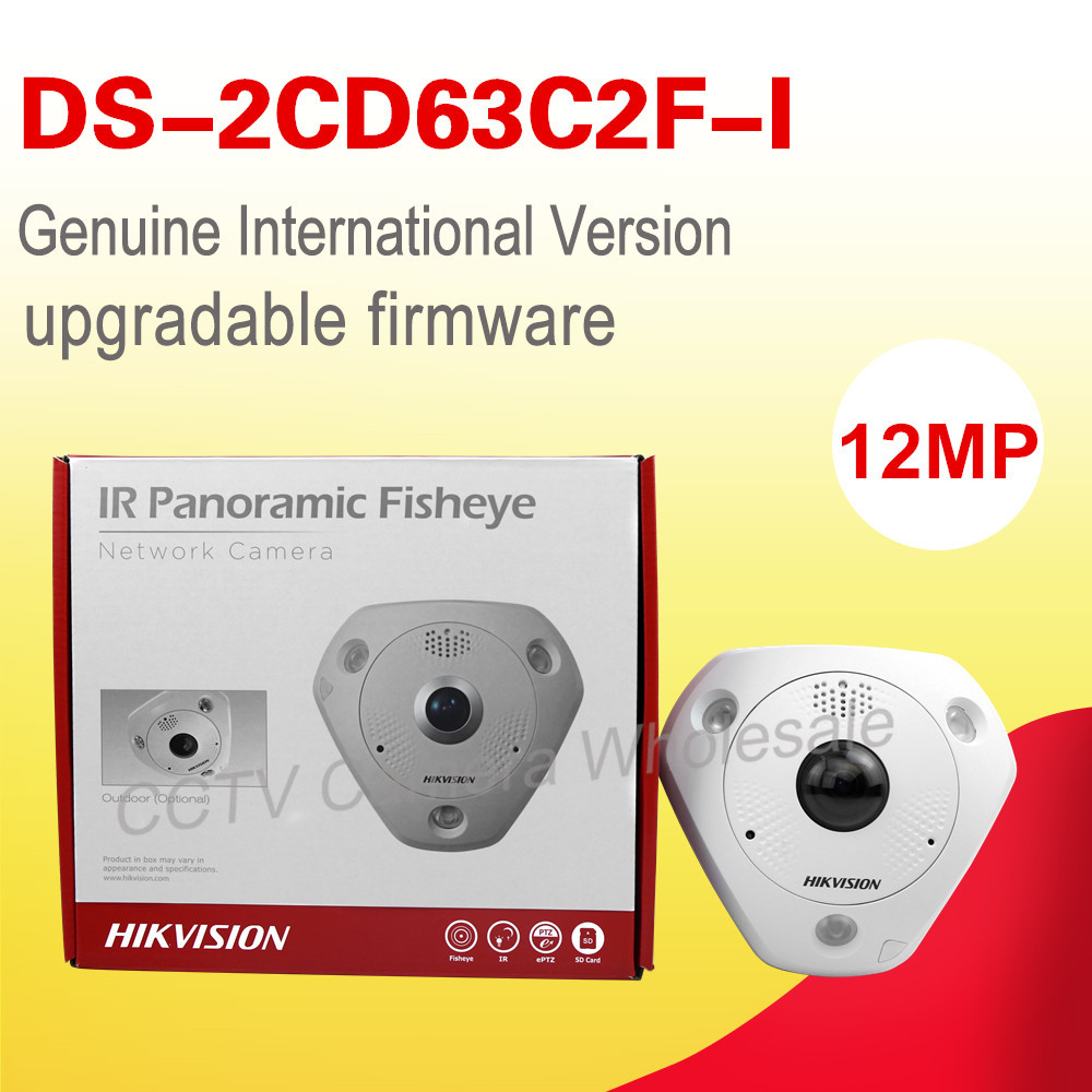 Free shipping English version DS-2CD63C2F-I  12MP Fisheye Network Camera 360 degree view angle ip camera Support Heat Map in stock international english version ds 2cd2942f is english version 4mp compact fisheye network cctv camera fisheye
