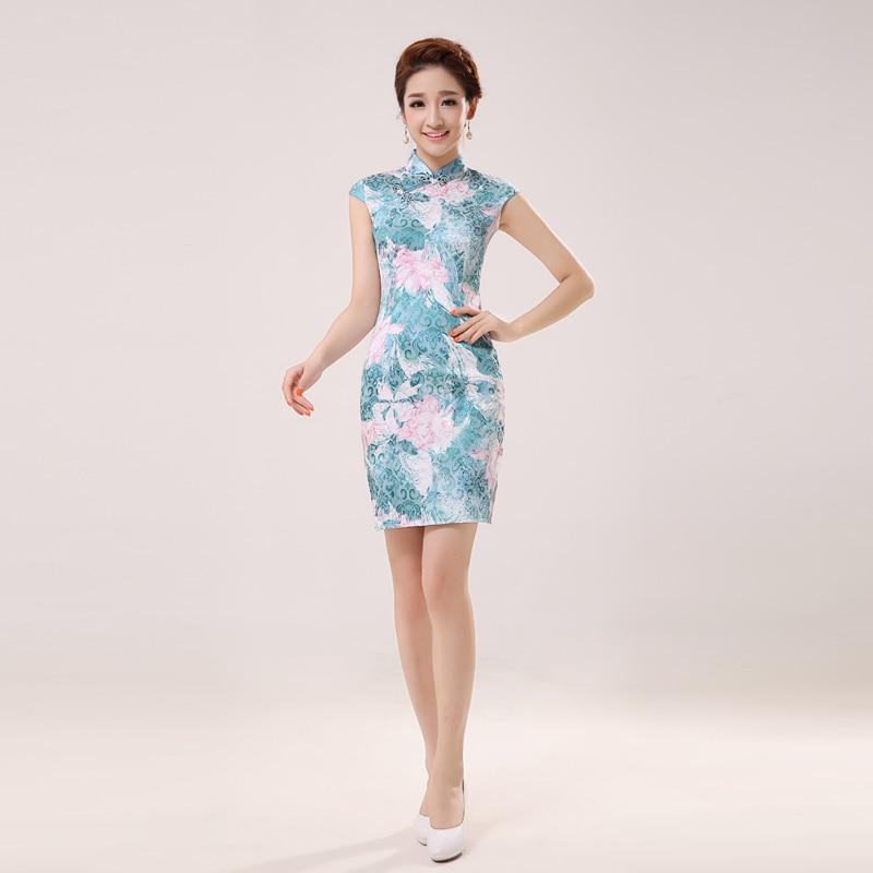 Women Sexy Summer Traditional Chinese Dress Short Sleeve Cheongsam Silk Embroidery Qipao Party Evening Dress Mini