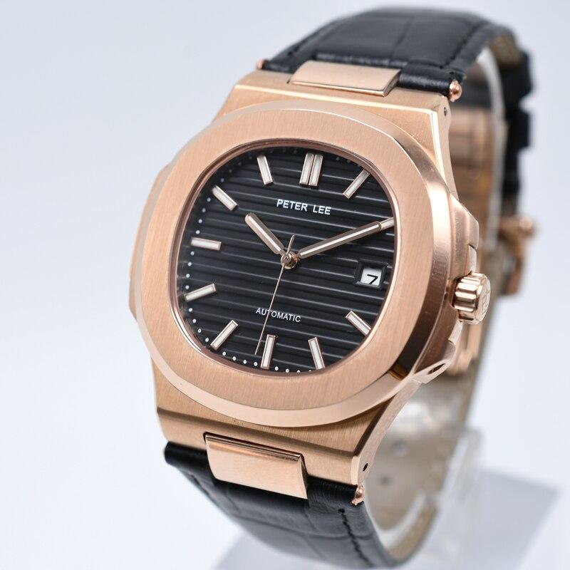 HTB1h1Kmfv6H8KJjSspmq6z2WXXab PETER LEE Sport Classic Men Watch Top Brand Leather Straps Mechanical Watch Fashion Male Clocks Business Unisex Watches Gift