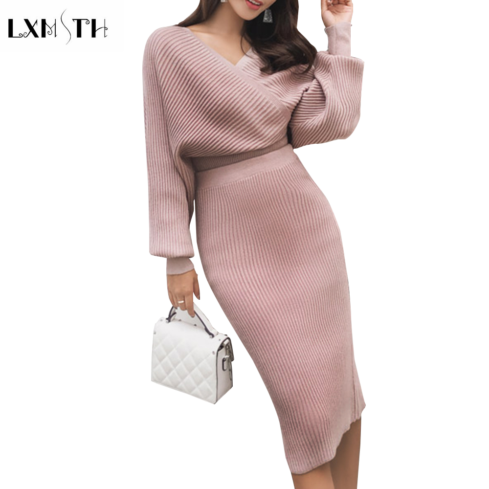 LXMSTH Big Size Bling Cashmere Sweater Set Ladies Designer Skirt Suits Knitting Sets Skirts Autumn Sexy V Neck Pullover + Skirt
