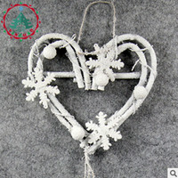 2018 New Arrival Heart Xmas Pendant & Drop Ornaments White Christmas Decoration For Home Rattan Deco For New year