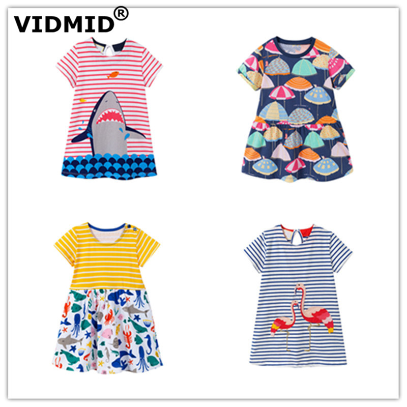 VIDMID New Girls Dresses Cotton Brand summer Baby Girls Dress Princess Dress Kids girls Clothes children's short sleeve clothing baby girls dress 2016 brand summer kids dresses for girls clothes majalica print princess short sleeve dress children clothing