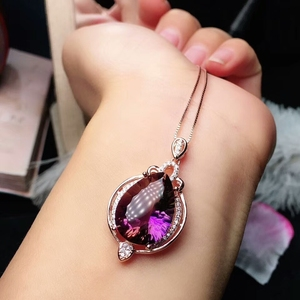 Image 3 - MeiBaPJ Natural High Quality Ametrine Fine Wedding and Party Jewelry Set 925 Pure Silver Necklace and Ring Suit for Women