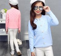 Nowy 2017 Moda Jesień Koronki kołnierz sweter Z Dzianiny Sweter Dot Dorywczo dzianiny wzór Hem Projekt Dla Dziewczyny Piękne Ubrania S127